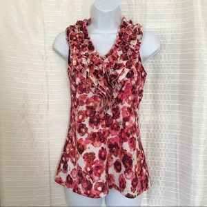{New York & Company} Floral Ruffle Blouse